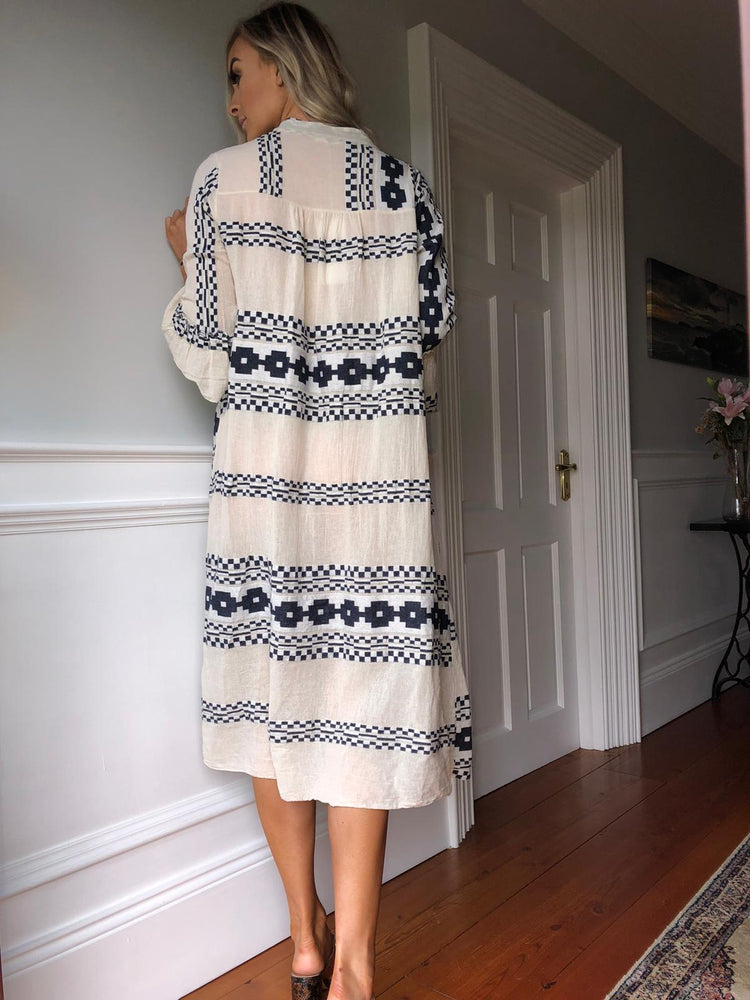 St Tropez Navy & White Smock Dress