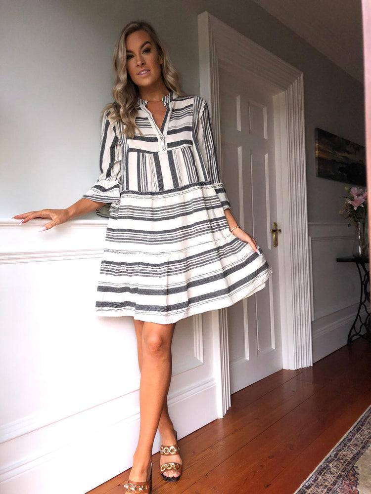 St Tropez Black & White Smock Short Dress