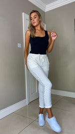 Jilly Jogger Pants With Sequin Detail - White