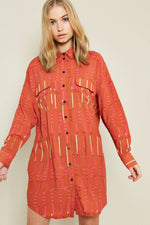 Kate Printed Button Down Shirt Dress