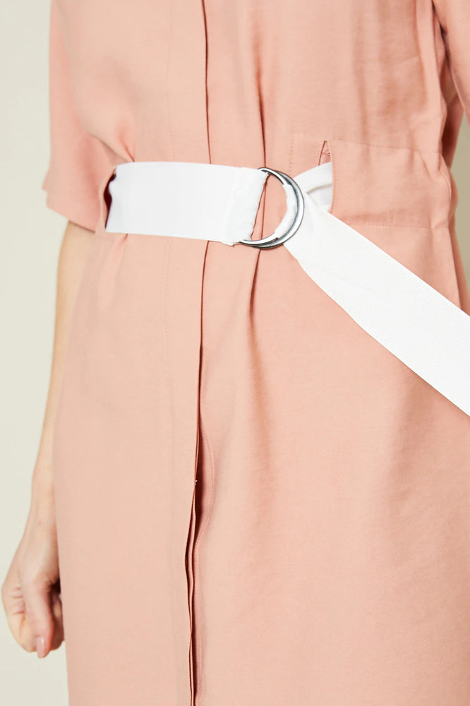 Maisie Stand Collar Shift Dress with Contrast Belt