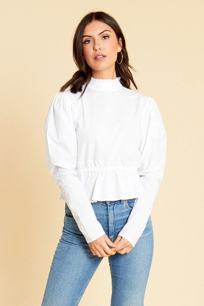 Zara White Cotton High Neck Top