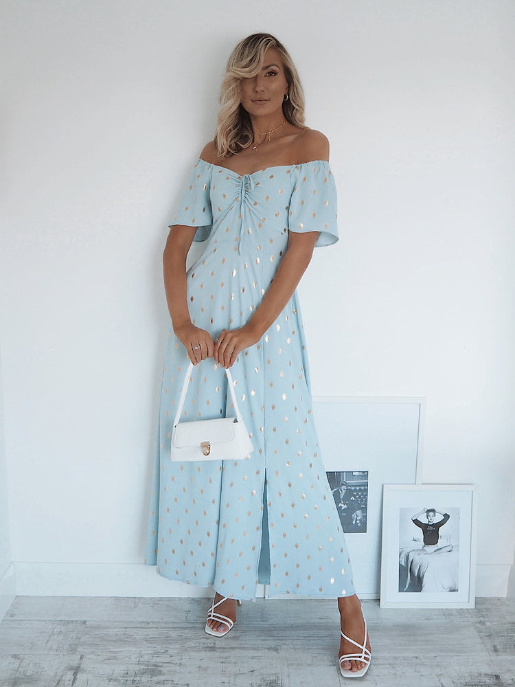 Siena Off-the-Shoulder Blue Midi Dress
