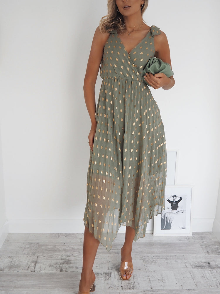 Tahiti green dress gold print