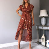 Oriana rust and gold leaf Dress