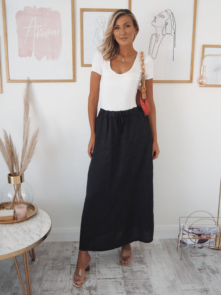Penny linen look skirt - navy