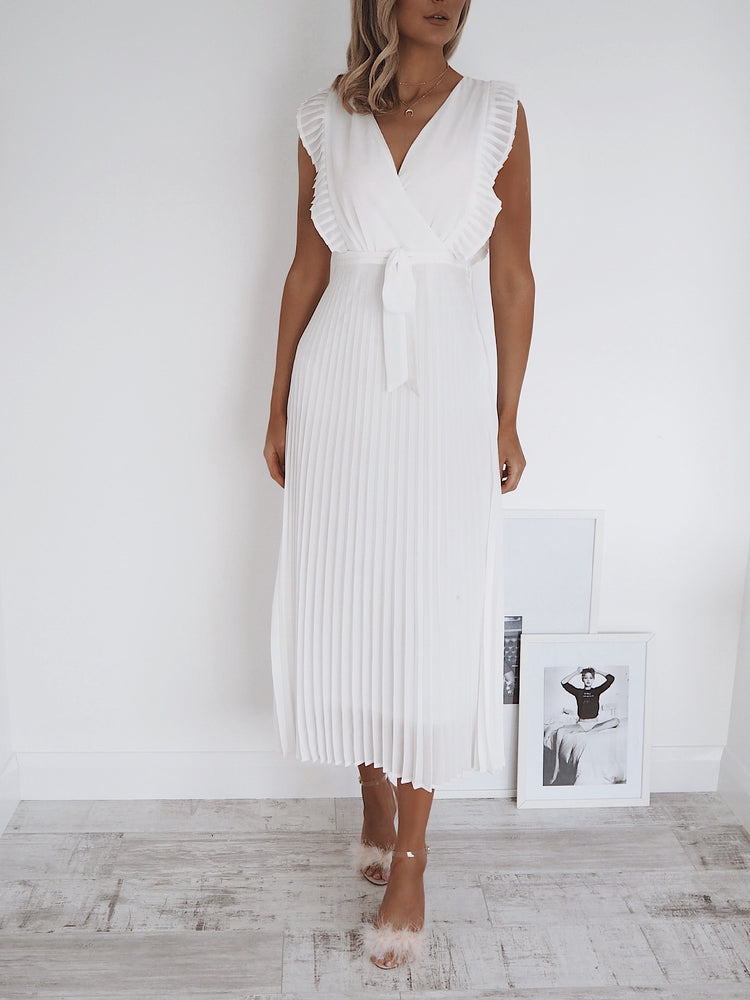 Maura White Frill Dress