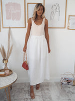 Penny Linen Look Skirt - White