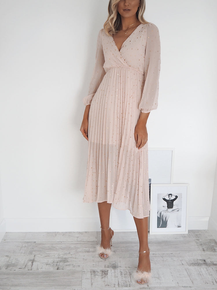 Eva Dress with Gold Leaf - Blush Pink