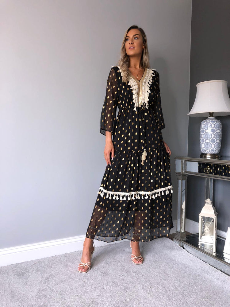 Tess Gold Leaf Tassel Dress
