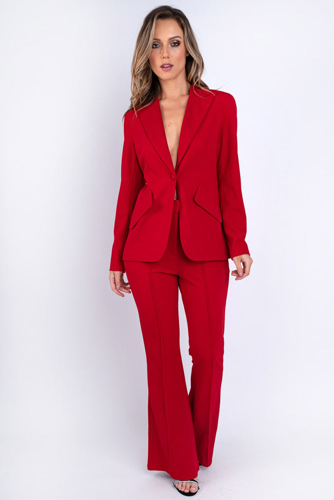 Classic Red Single Breasted Blazer