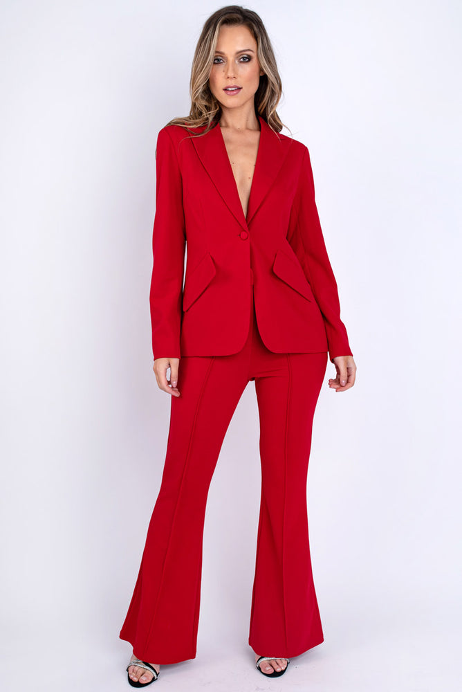 Red Tailored Kick Flare Trousers