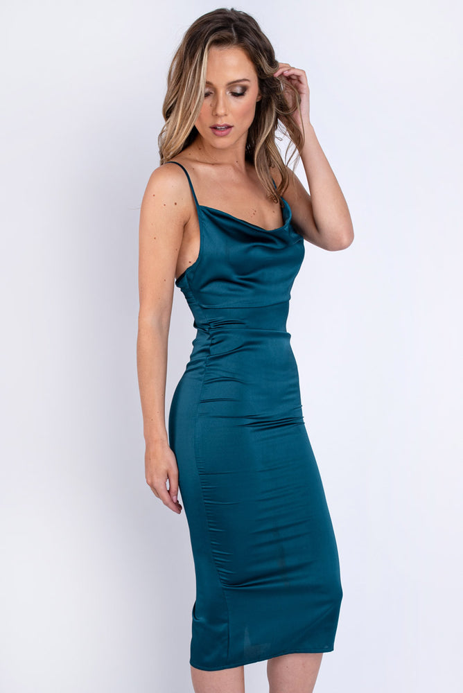 Teal Satin Midi Dress