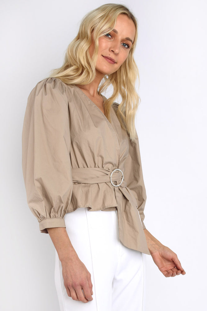 Puff Sleeve Belted Wrap Top