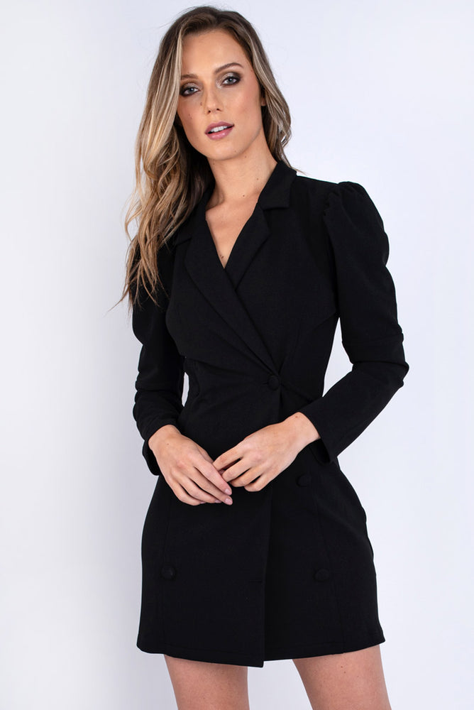 Puff Sleeve Button Front Blazer Dress