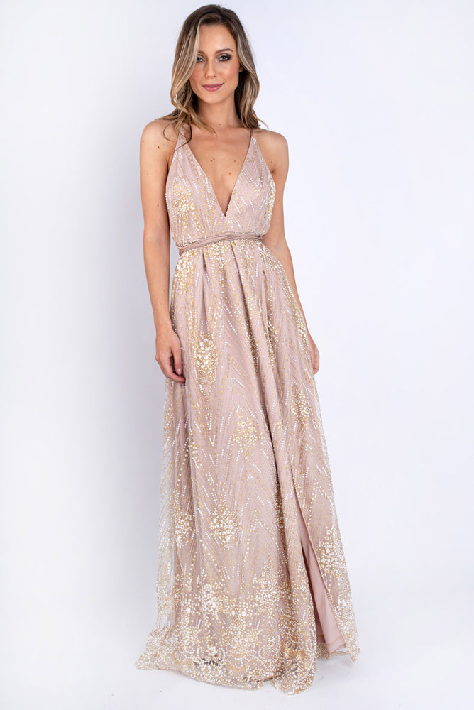 V-neck Embroidered Sequin Maxi Dress