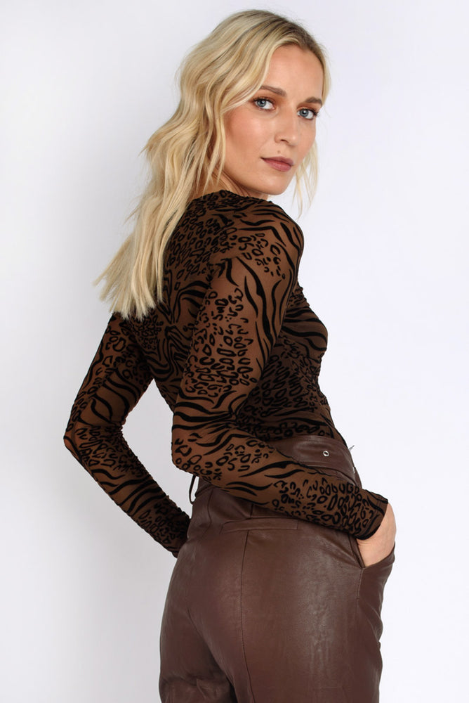 Animal Print Mesh Top - Brown