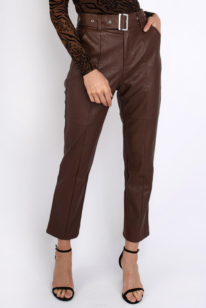 Faux Leather High-Waisted Belted Trousers