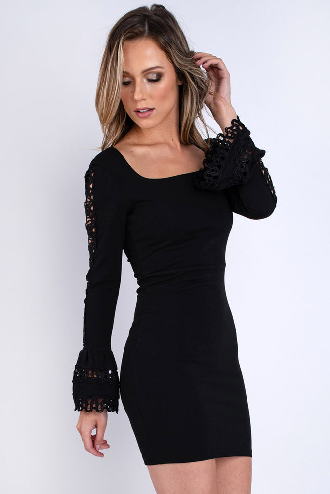 Black Bodycon Dress with Crochet Detailing