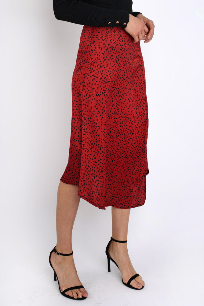 Red Spotted Satin Midi Skirt