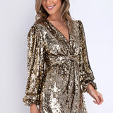 Gold Sequin Wrap Dress