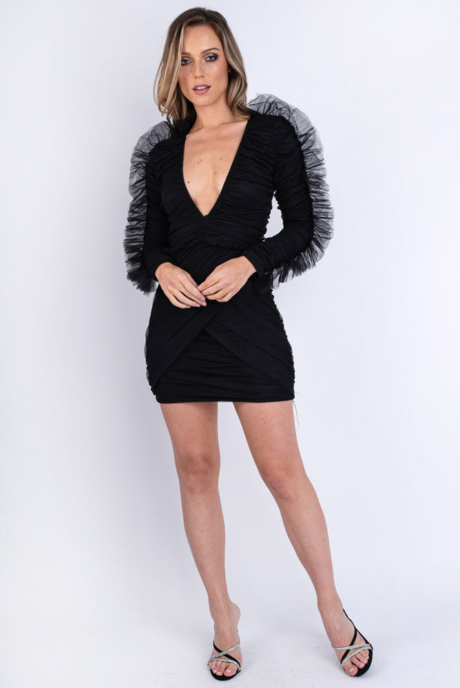 Organza Ruched Plunge Mini Dress