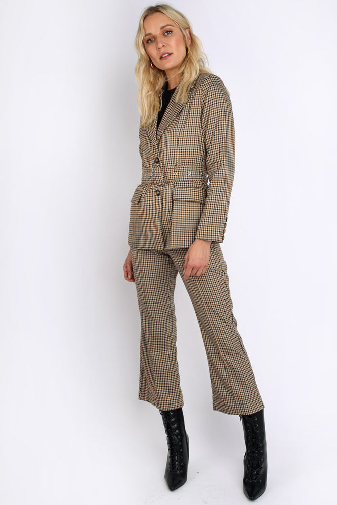 Pow Check Wide Leg Trousers