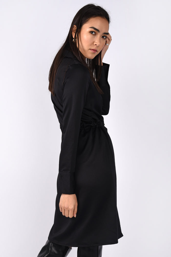 Black Tie-waist Shirt Dress