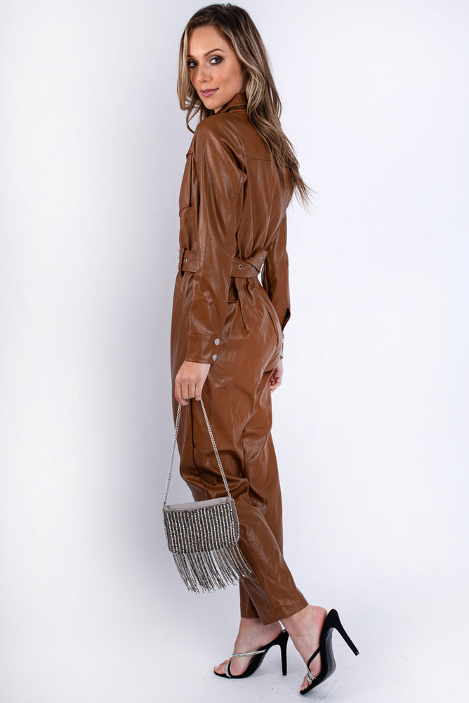Toffee Faux Leather Boilersuit