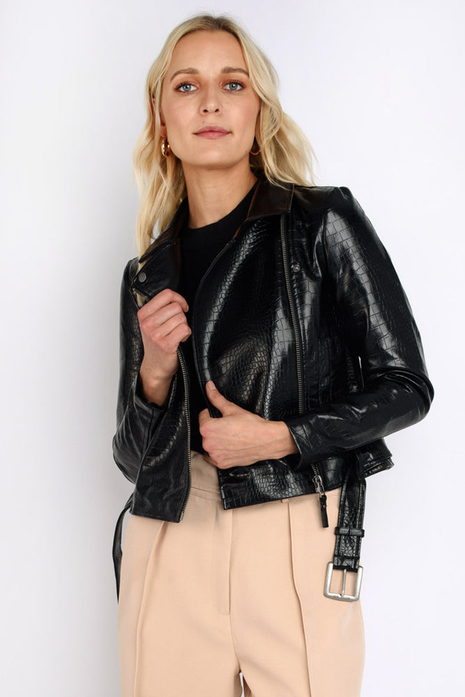 Croc Embossed Faux Leather Jacket