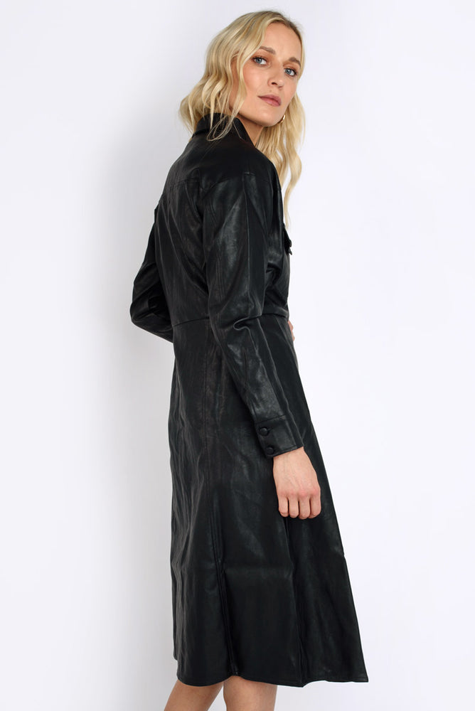 Faux Leather Long-line Jacket