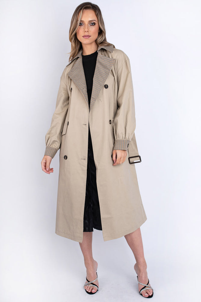 Contrast Collar Trench Coat