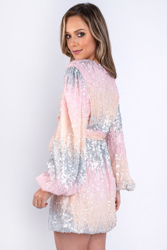 Pastel Sequin Wrap Dress
