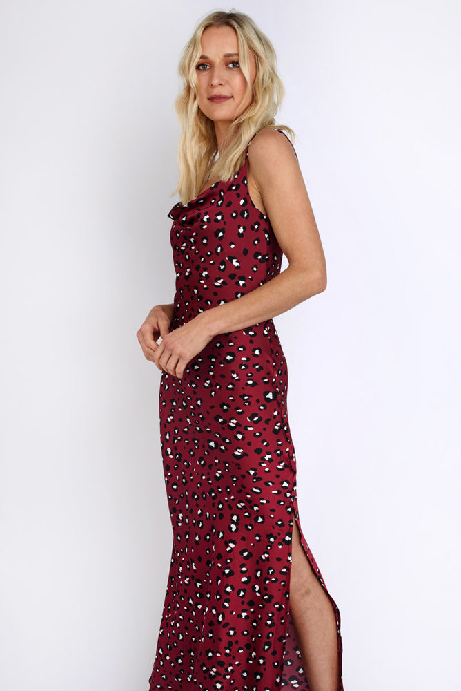 Leopard Print Satin Slip Dress