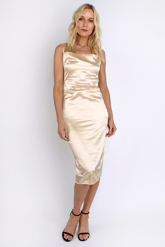 Satin Silk Midi Slip Dress