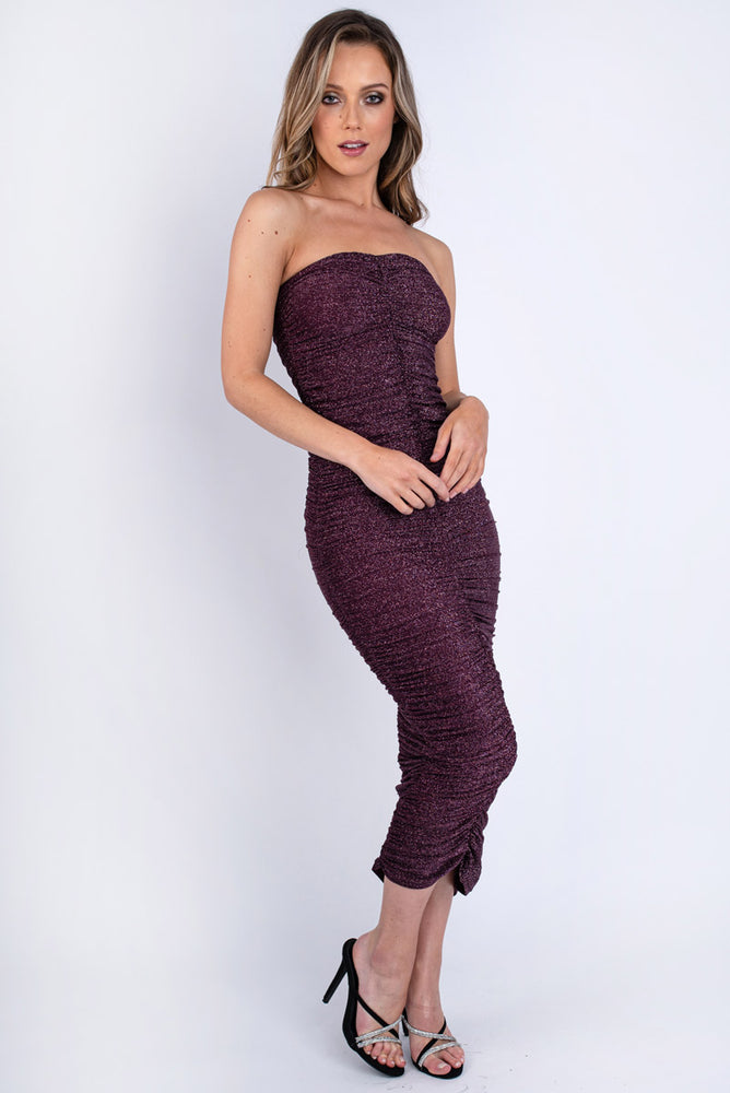 Plum Shimmer Bodycon Dress