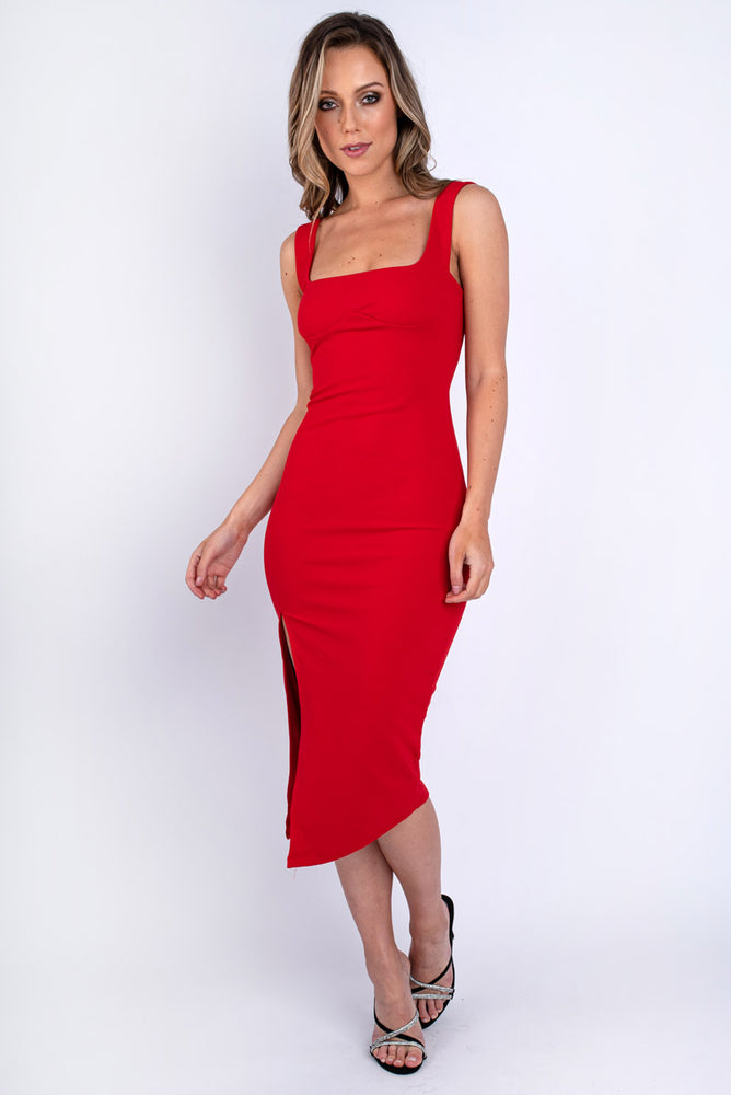 Red Square Neck Bodycon Dress