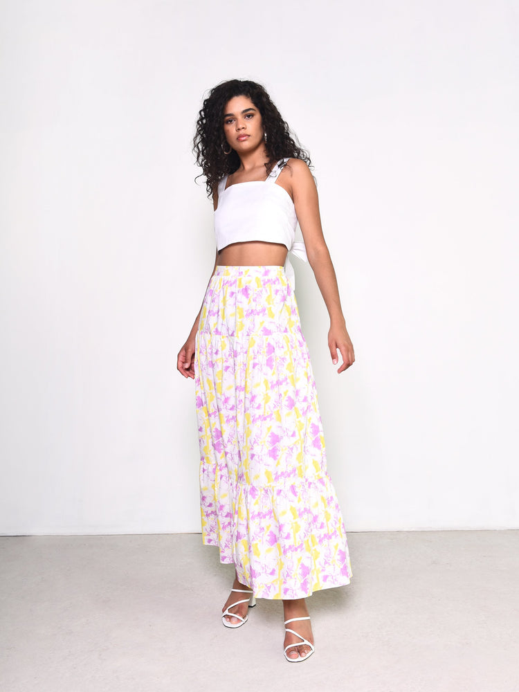 Norahh Pink and Yellow Art Maxi Skirt
