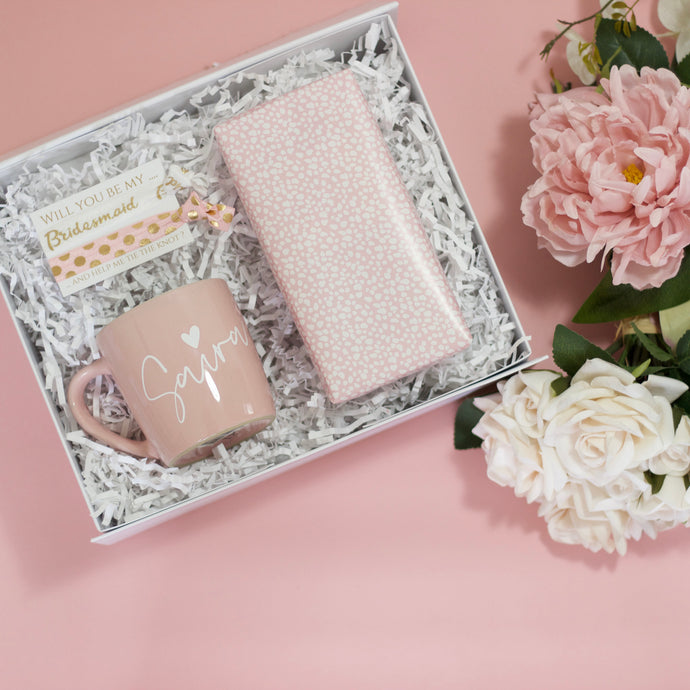 Will you be my Bridesmaid? Gift Box with Pink Mug