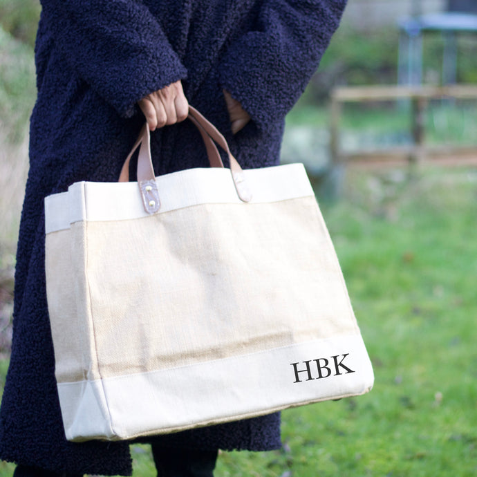 Natural Jute Bag - Initials