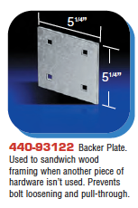 Floating Dock Hardware - Backer Plate.
