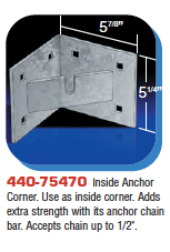 Floating Dock Hardware - Inside Anchor Corner