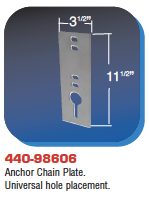 Floating Dock Hardware - Anchor Chain Plate. Universal hole placement.