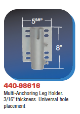 "Floating Dock Hardware - Multi-Anchoring Leg Holder. 3/16"" thickness. Universal hole placement"