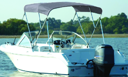 "Carver A4681UB10 46""/36"" High 3 Bow UPS-able Bimini Top Kit, 79"" - 84"" Wide, Cadet Gray"