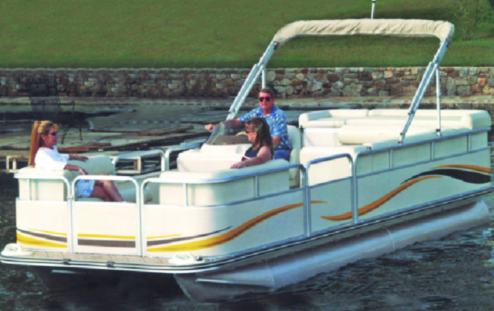"24'6"" Carver 77524P Styled-To-Fit Cover for Pontoons With Fully Enclosed Deck & Bimini Top"