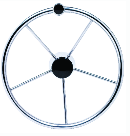 "Seachoice 15"" Stainless Steel Destroyer Wheel With Turning Knob & Black Center C"