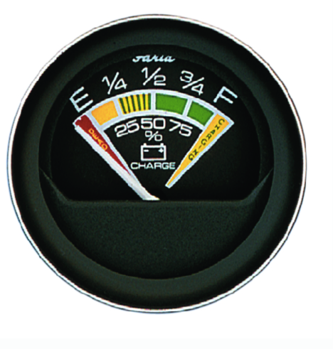 "Faria Coral Black 2"" Battery Condition Indicator Gauge (12 VDC)"