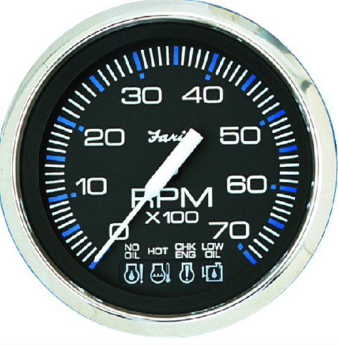 "Faria Chesapeake SS Black 4"" Gauge - 7000 RPM Tachometer With System Check Indic"