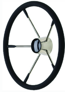 "Seachoice 15"" Stainless Steel Destroyer Wheel With Permanent Foam Grip & Black C"